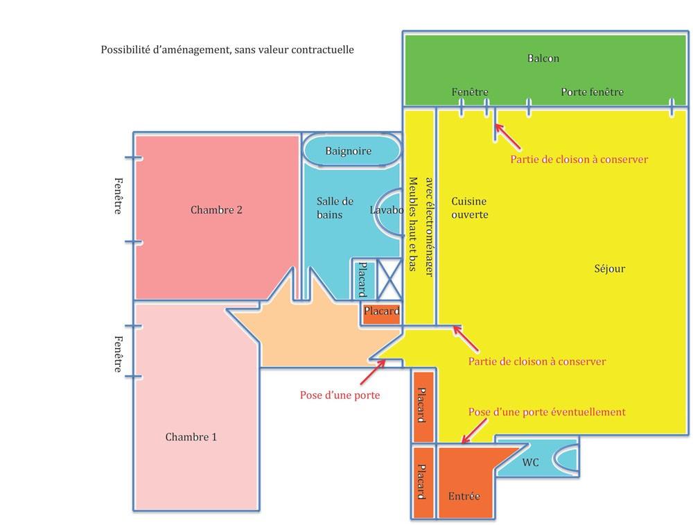 rue pix r court 3 pi ces de 62 50 m2 loi carrez balcon de 6m2 est ouest chauffage. Black Bedroom Furniture Sets. Home Design Ideas